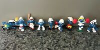 Lot of 9 Vintage Smurf Figurine - Sports / Athletic Theme - from Peyo - Rare Toy