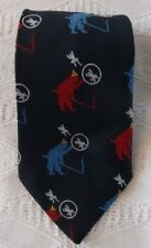 National Shirt Shops Vintage Mens Navy Blue Neck Tie Frogs Clown Hoops Whip