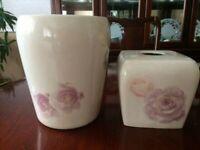 Whisper Rose Ceramic Tissue Box Cover with matching Waste Basket, Kohl's