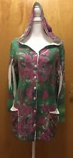 MUSHKA BY SIENNA ROSE Colorful Floral Hooded Tunic, Size L