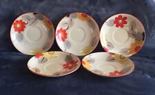 Grays Pottery Five Hand Painted Floral Art Deco Saucers!!WOW!! Susie Cooper ?