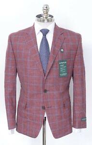 NWT $375 RALPH LAUREN Lexington Red Plaid Wool Silk Linen Sport Coat Jacket 46 R