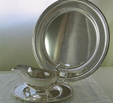 Round Platter & Sauce/Gravy Boat & Sauce, Acanthus Leaves Applied Border, 14 in.