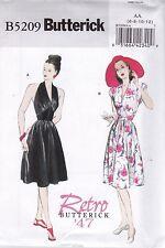 Butterick Sewing Pattern B5209 Reissue of Retro '47 Halter Neck Dress Sz 14-20