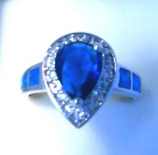 "GORGEOUS BLUE  FIRE OPAL/ SAPPHIRE/WHITE TOPAZ RING UK Size ""R"" US 9"