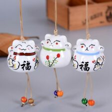 Ceramic Wind Chime Bell Small Fortune Cat Maneki Neko Pendant Hanging Decoration