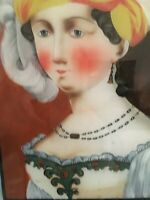 Antique Reverse Painting on Glass of a Russian Girl 19th Century  -MB69-