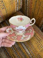 Queen Anne Fine Bone China England Pink Floral Lady Eleanor Tea Cup Saucer RARE