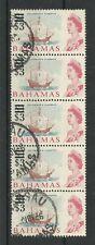 Bahamas 1966 Sg 287 £1 Chestnut Blue & Rose Red Vertical Strip of 5, FU[C/W 113]