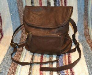 ORIGINAL Fat Face Brown Leather and Cotton Rucksack Satchel Bag Designer Great
