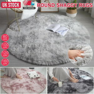 Circular Shaggy Fluffy Warm Rugs Non Slip Washable Floor Small Round Home Mats