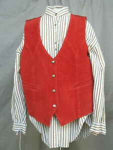 Cowboy Shirt & Red Leather Vest Country Western Prairie