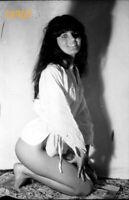 half nude hairy girl w amazing smile, shadow, 1970's vintage negative!