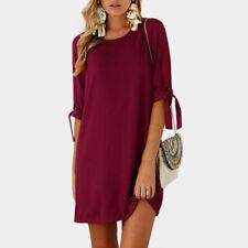 UK Womens Autumn Long Sleeve Floral Tops Casual Loose Shirt Mini Dress Plus Size