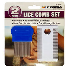 Head Lice Comb Fine Tooth Metal Detection Remove Hair Nit Eggs Magnifier Set 2pc