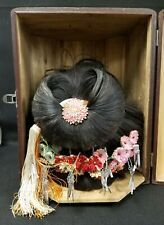 Antique Geisha Wig Katsura Hair Ornaments in Signed Traveling Storage Box