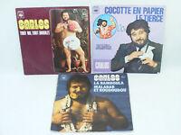 CARLOS Lot de 3 disques 45 tours disc 45T Tout nu Tout bronzé/Malabar roudoudou