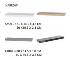 NARROW FLOATING WALL SHELVE SHELF SHELVING KIT RACK DECORATING DISPLAY 4 COLOURS