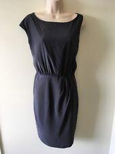 SATCH: Grey Blue Pure Silk Asymmetric Dress, Size 10