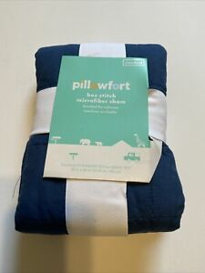 ONE NEW Box Stitch Microfiber Pillow Sham in Navy Blue by Pillowfort