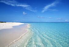Framed Print - Tropical Blue Ocean White Sandy Beach (Picture Poster Sea Art)