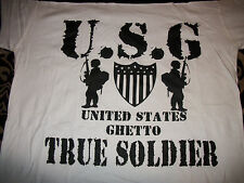 2XL  T-Shirt  says USA GHETTO true soldier can be worn by man or worman