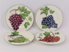 "American Atelier VINEYARD Set of 4 Dessert Salad Plates Grapes 8-1/4"""
