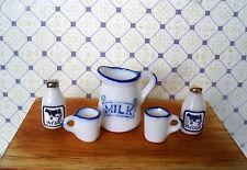 1:12 - Miniatur Porzellan Milchkaraffe mit 2 Milchflaschen und 2 Becher