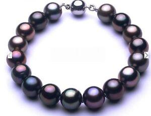 "Natural 7.5""-8""9-10MM GENUINE tahitian black redish round pearl bracelet"