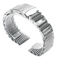 20/22/24mm Stainless Steel Silver Shark Mesh Bracelet Watch Band Strap Solid