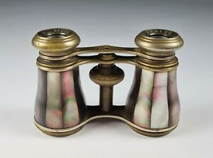 Beautiful Antique Lamier Paris Brass and M.O.P. Opera Glasses