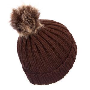 Warm Knitted Bobble Hat Plain Womens Beanie Warm Winter Pom Pom Wooly Cap Brown