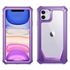 For iPhone 11 Case,Poetic Full-Body Cover with Screen Protector Purple Clear