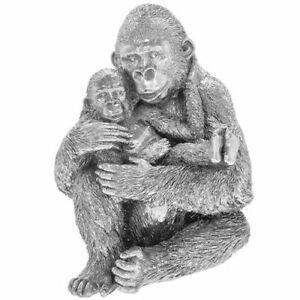 Leonardo Silver Art Gorilla & Baby Ornament Animal Statue Figurine Box 46050