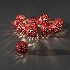 Konstsmide LED Dekolichterkette rote Metallbälle klein