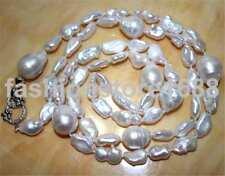 "White 16-25 reborn keshi South Sea baroque pearl necklace 36"" silver"