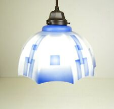 GERMAN BAUHAUS CUBIST LIGHT BLUE SUPREMATISM GLASS CEILING LAMP 1925 ART DECO