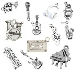 Musical Tibetan Silver CHARMS Necklace Bracelet Jewellery Making Music UK