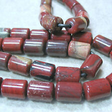 "Red Jasper 10x14mm Barrel Tube Beads Large 2mm Hole 8"" Strand Wire Leather Wrap"
