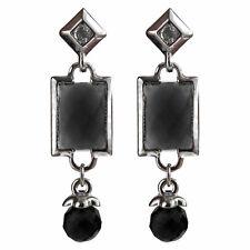Boucles d'oreille plaqué or blanc CRISTAL losange rectangle verre géométrie noir