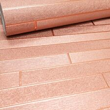 Arthouse Copper Shimmer Brick Foil Metallic Heavy Luxury Feature Wallpaper