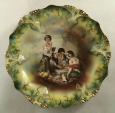 UNMARKED RS PRUSSIA DICE THROWERS PORTRAIT SCENE PLATE POINT & CLOVER MOLD