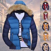Winter Mens Warm Quilted Duck Down Padded Bubble Puffer Hooded Jacket Coat Parka