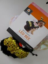 Pet BEE COSTUME XS Dog BUMBLE Headpiece & Suit 2pc LED Wings LIGHTS UP NEW NWT