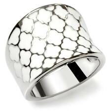 HCJEWELRY STAINLESS STEEL WHITE ENAMEL CLOVER FASHION STATEMENT RING SIZE 10