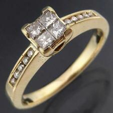 Bright Lively Princess & Round Cut Solid 9k Yellow GOLD DIAMOND RING Mid Sz N