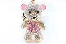 Big Pink Teddy Bear Giant Fashion Keychain Rhinestone Animal Cute Gift E11