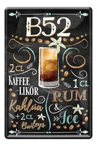 B52 Cocktail Longdrink Drink Zutaten Rezept Retro Deko Blechschild 20x30cm A0589