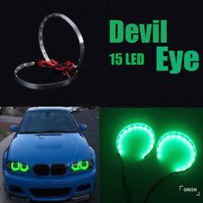 Pair Green LED Lights Devil Eyes Demon Eye Auto Headlight Projector Lens Rings