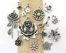 12 Spring FLOWER Charms, Tibetan Antique Silver Mixed Charm Collection Set Lot